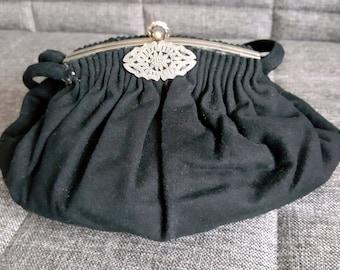 Vintage Black  Wool Blend Handbag Purse