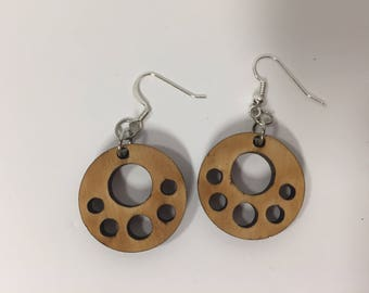 Wooden Polka Dot Earrings