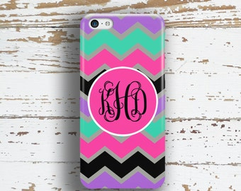 Cute Gifts for Girls, Monogram Iphone SE case, Chevron Iphone 5c case, Girl's Iphone 5s case, Zig zag Iphone 5 case, Pink and black (1069)