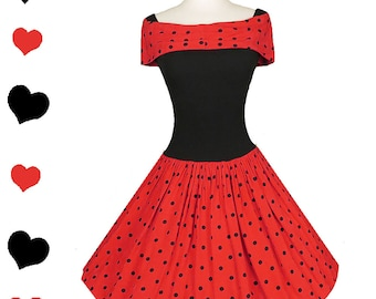 Vintage 80s Dress / 80s 50s Dress / 80s Prom Dress / Red Black Polka Dots / Rockabilly Dress / XS S Extra Small Pinup Party Full Skirt Swing