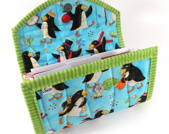 Cash / Coupon / Expense / Receipt Organizer - Playful Penguins - Coupon Organizer Cash Budget Receipt Organizer Organiser Turquoise Whimsy