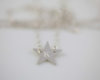 star necklace, monogram necklace, initial necklace, dainty necklace - sterling silver necklace