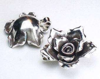 Karen Hill Tribe Rose Pendant 24mm Fine Silver Flower Pendant HT-197