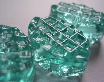 Handmade Glass Blue Green Lampwork Beads Ericabeads Aqua Tint Waffle Zulus (6)