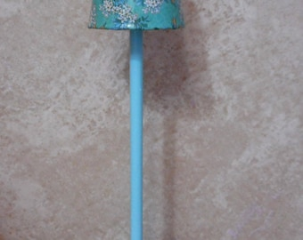 Turquoise Flower Pole Lamp