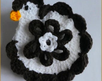 Decorative crochet dark brown and white houndstooth