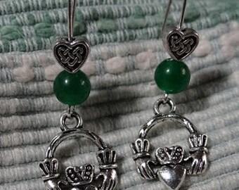 Celtic Claddagh Emerald Jade Earrings