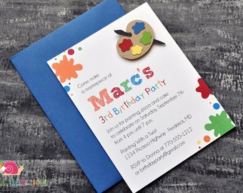 Paint Splatter Birthday Party Invitations · A2 Flat · Blue Red Orange Green · Painting Party   Artist   Painter's Palette