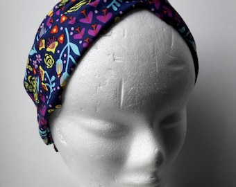 Adjustable turban headband. Turban pinup. Turban printed in cotton. Tropical turban. Skull print.  Boho turban. Leaves. Flowers. Pinneaple