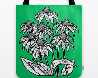 Green Flowers Tote Bag - Double Sided Tote - Beach Bag, Yoga Bag, Reusable Grocery Tote