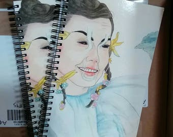 Blank notebook with Björk watercolor cover art