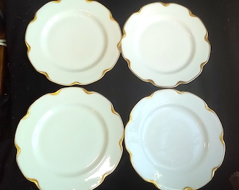 Haviland Silver Anniversary 4 Dinner Plates Schleiger 19 (3 sets) Limoges XLT 9 3/4 in. White with Gold Trim