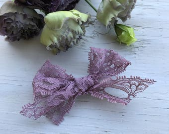 Plum lace bow | baby bows | baby headbands | clips