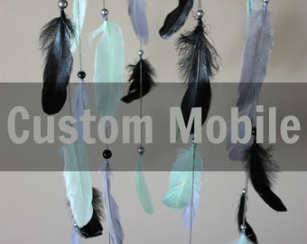 Custom Feather Mobile-Baby Boy Nursery Decor-Baby Girl Nursery Decor-Custom Mobile-Nursery Decor-Baby Mobile-Baby Shower Gift-Feather Mobile