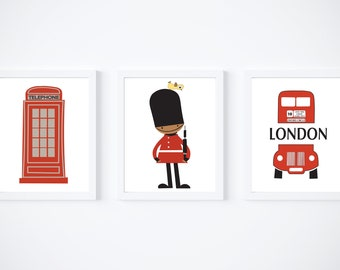 London Set of 3 Prints, Travel Pictures, Royal Guard, Double Decker Bus, Telephone Box, Red Wall Art Decor, Phone Booth, Home Decoration Art