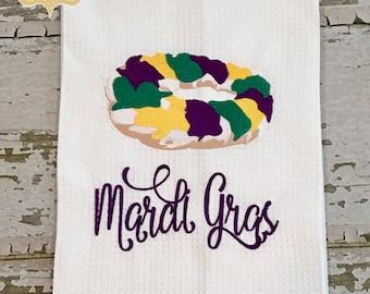 Mardi Gras King Cake Waffle Weave Hand Towel