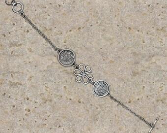 Bracelet round cabochon 14 mm flower holder