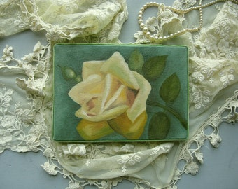 Yellow Cabbage Rose Original Still Life Hand Painted Oil Painting 5X7 Canvas Velvet Wrapped Edge Shabby Chic French Farmhouse Cottage