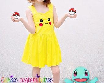 Pikachu Dress - Pokemon Dress - Pokemon cosplay - Pikachu Cosplay - Embroidery Dress- Pokemon Costume - Pokemon Birthday- Pokemon Party