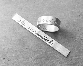 "handwritten script ""she persisted"" sterling silver ring Elizabeth Warren 'nevertheless she persisted' inspired"