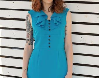 Mod Turquoise ruffle dress a line retro 60s mini dress