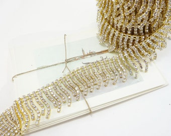 Gold Rhinestone Fringe Trim, Rhinestone Chain, Clear Crystal Trim, Wedding Crystal Chain, 35mm ( 1 Yard Qty)