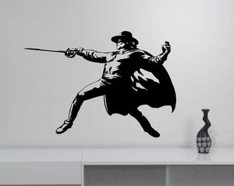 Zorro Wall Sticker Swordsman Removable Vinyl Decal Vintage Super Hero Art Retro Movie Decorations for Home Dorm Room Bedroom Decor zr2