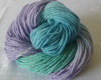 "Handspun Yarn, Merino Wool Yarn, Single Ply - Worsted Weight – ""Springtime"" with Teal Green, Sky Blue, and Purple – 216 yards"