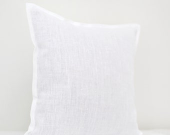 White linen pillow cover - white pillow - White decorative pillow - linen pillow cover white - custom size pillow - euro shams  0026