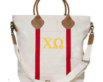 XO Chi Omega Sorority Embroidered Cotton Canvas Flight Bag