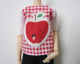 Happy apple blouse on gingham background for Pullip / Momoko / 27cm Obitsu