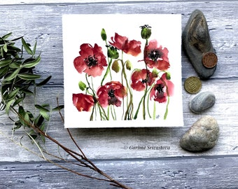 Original abstract floral painting red poppy flower artwork wall art abstract botanical art small bright cheerful Aquarelle contemporary art
