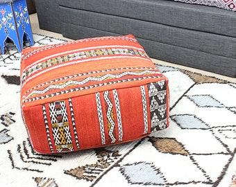 MOROCCAN KILIM POUF Pouffe Extra Large Floor Cushion Pillow Cover Handmade Handwoven 60 cm x 60 cm x 25 cm  / 25.6''x 25.6''x 10'' (KP13)