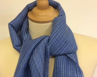 Handwoven scarf in hand-dyed silk and mohair