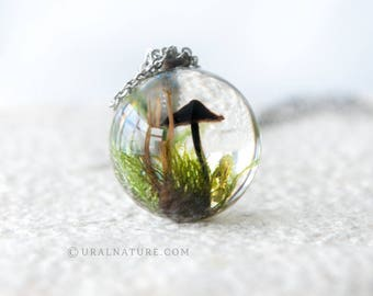 Tiny Forest Necklace - Handmade resin casting jewelry - UralNature handmade necklace - Resin woodsy jewelry