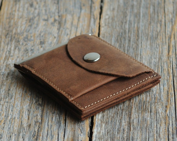 Bi-fold leather wallet, dark brown thin credit card cash holder