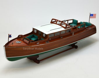 "Chris Craft Commuter Handmade Wooden Boat Model 34"""