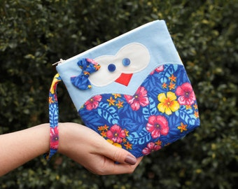 Cosmetic bag for little girl, Makeup bag, Girl wristlet clutch, Cosmetic purse, Cosmetic pouch, Toiletry purse