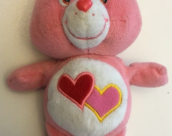 "Vintage Love A Lot Pink Plush Stuffed Care Bear 9"" 1980's"