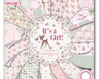 LOT 16 sheet paper IT's A GIRL girl birth baptism CARDSTOCK SCRAP 30 x 30 cm