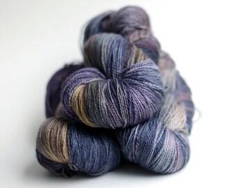 Hand Dyed Yarn-Merino Cashmere Nylon MCN -light fingering-562 yds -Purple Iris