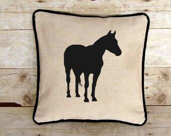 Horse Pillow Cover, Horse Lover Gift, Equestrian Home Decor, Horseback Riding