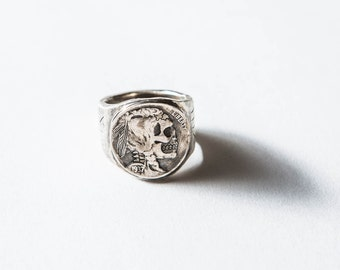 Hobo Nickel Brave, Biker Ring, Men's Ring, Gifts for Him, Mixed Metal ring, Signet Ring, Mexican Souvenir Ring, Fathers Day, Vintage