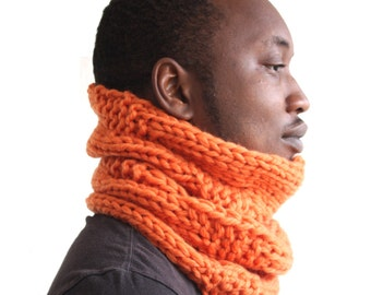 Orange Scarf, Bright Scarf, Orange Snood, Knitted scarf, Bright orange Wool Cowl, Urbanknit Scarf, Chunky knit scarf, merino wool scarf