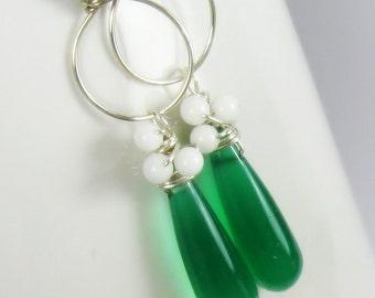 Dangle earrings, green chalcedony, white jade, amazonite, sterling silver, pastel, hoops