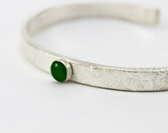 Handcrafted Sterling Cuff Bracelet with Green Serpentine Cabochon Asymmetrical  Narrow Cuff Contemporary Artisan Jewelry OOAK 961655932616
