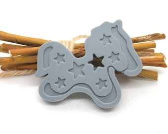 Gray pony silicone teething ring