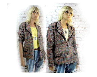 Multicolored jacket, crop jacket , fashion jacket , women's blazer - Spring blazer - feminine jacket - office jacket - size 18 - # 147