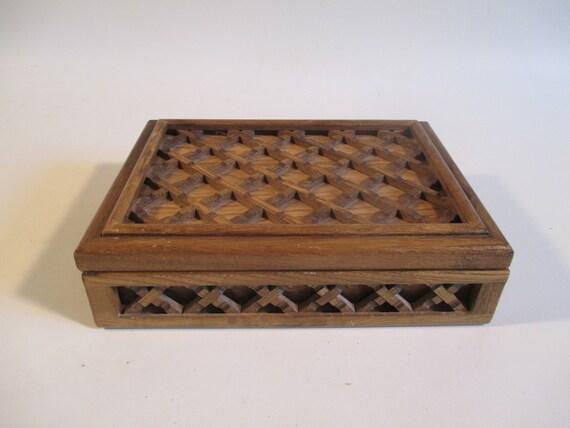 Farrington Jewelry Box Vintage Woven Wood Lattice