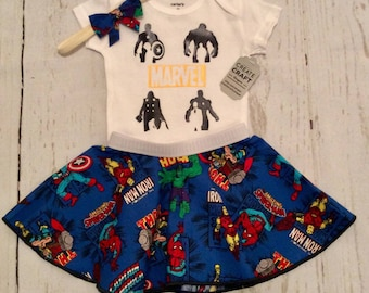 Marvel infant baby outfit. Onesie, circle skirt, and a free bow. Free shipping. Spiderman. Iron man. Hulk. Thor. Captain America. 3 months.